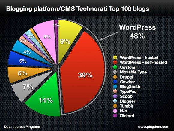 An infographic showing the percentage of wordpress as a blogging platform among top 100 blogs